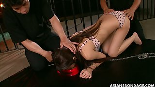 Kinky dudes punish hairy pussy of one slim Japanese chick with round ass