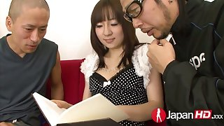 Japanese slut Hitomi Fujihara is having wild sex with two dudes which make her pussy creampied