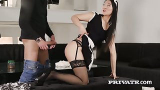 Captivating Asian maid Katana gets intimate with her boss