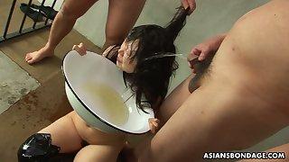 Two kinky perverts humiliate Japanese mature hooker Eri Kitahara
