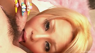 Asian MILF beauty Rica gives a sloppy blowjob close up in HD POV