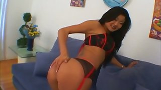 Sexually charged exotic vixen Lucy Lee has a nice ass and she gives a great BJ