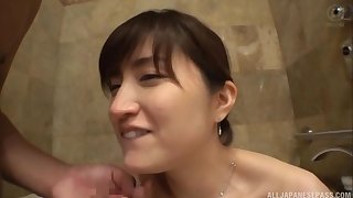 Asian babe Ishimi Chiharu shows off her body before she sucks dick