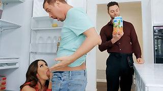 Wife's big tits seduced nanny less fuck hardcore