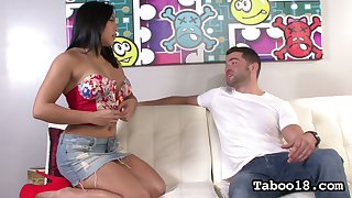 Nonconforming big breasted raven haired sexpot Mia Li gives staggering handjob