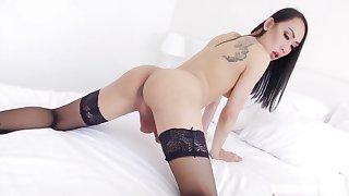 TS asian Bella masturbates her shecock