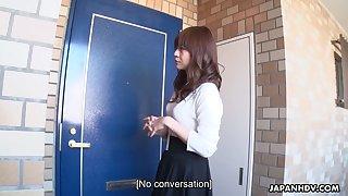 Asian girl Asuka Kyono masturbates pussy accelerate perverse dude sniffing her trunks