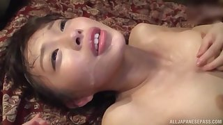 Oto Sakino spreads her legs be advisable for a friend's enduring cock in excess of the floor