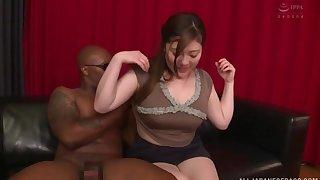 Black dude destroys sopping pussy of Nishiyama Asahi lacking in mercy