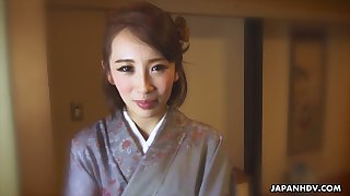 Japanese nympho regarding vesture Aya Kisaki is ready to masturbate herself