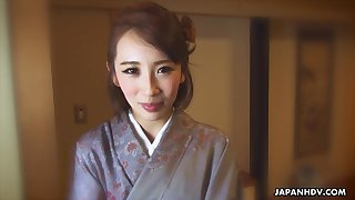 Japanese kimono lady Aya Kisaki wanna some sensual masturbation