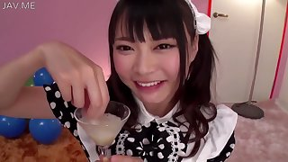 Airi Natsume Looking Sexy A In Maid Costume Drinks Cum Detach from A Glass