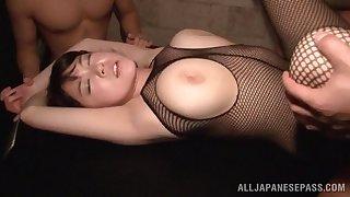 Busty Asian hew Nanami Horikita enjoys having sex with two guys