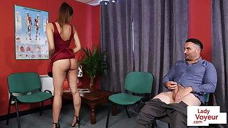 Asian babe ribbing man in doctor office