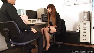 Provocative Japanese secretary Gotou Saki gets her pussy fucked
